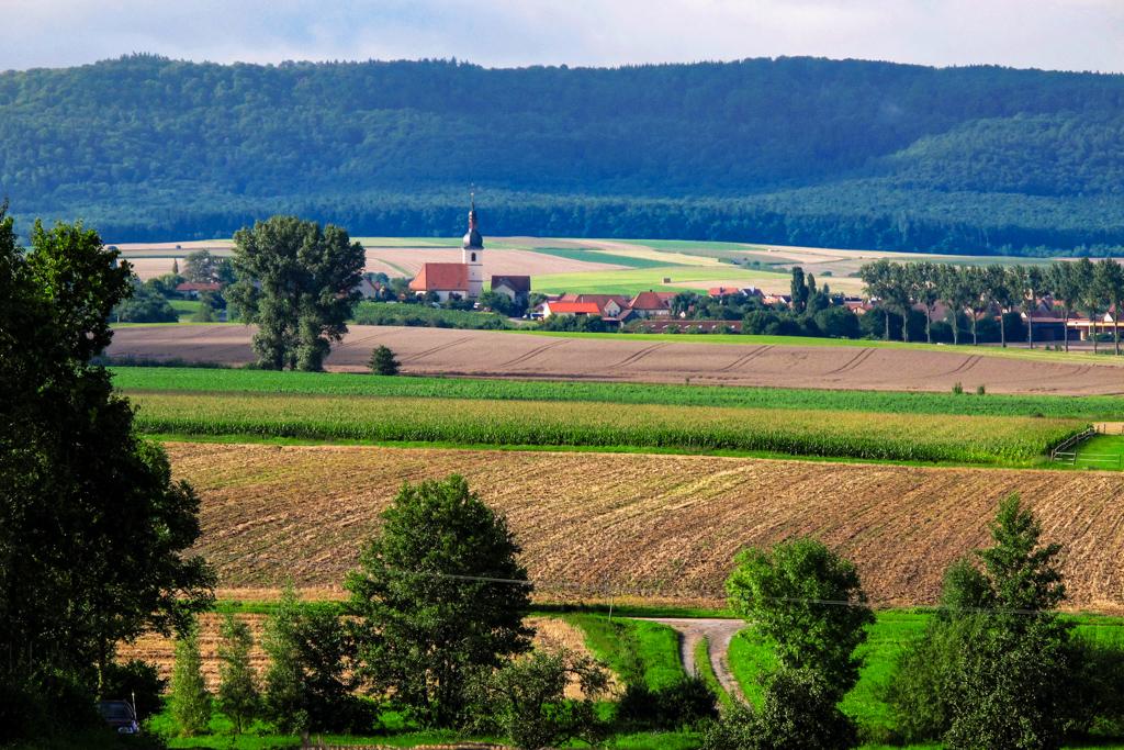 Blick vom Wutschenberg über den Gründleinsbach auf Wiesenbronn
