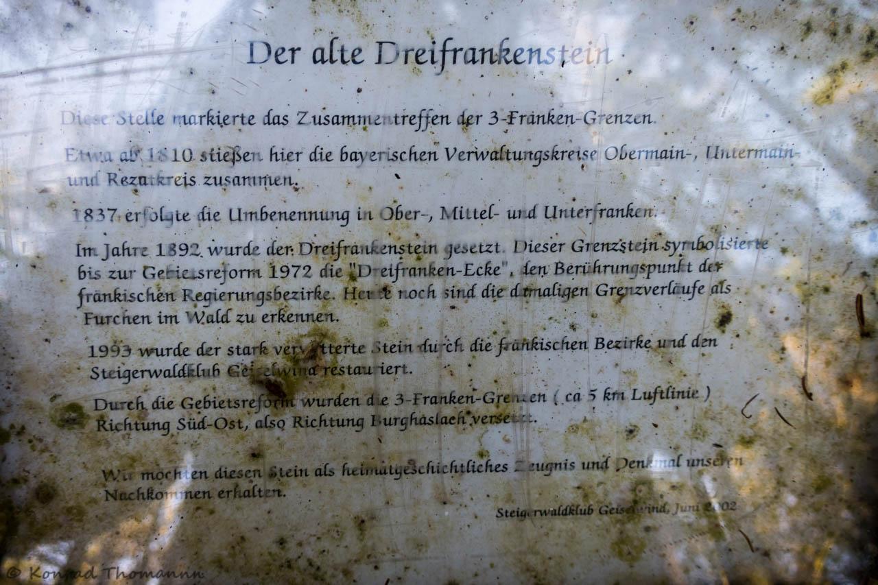 Tafel am alten Dreifrankenstein